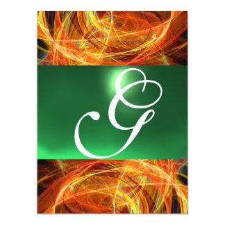 "CRAZY PHOTON MONOGRAM yellow emerald green 6.5"" X 8.75"" Invitation Card"