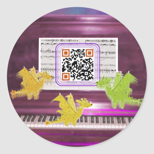 Crazy Piano Dragons say Have a Great Day Stickers