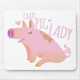 Crazy Pig Lady Mouse Mat