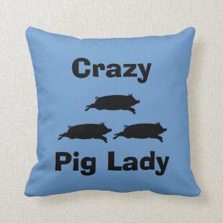 Crazy Pig Lady Pillow