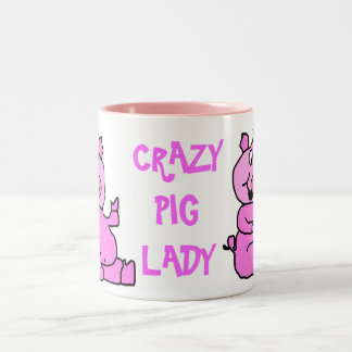"""""""Crazy Pig Lady"""" Pink Cartoon Pig Ceramic Mug"""