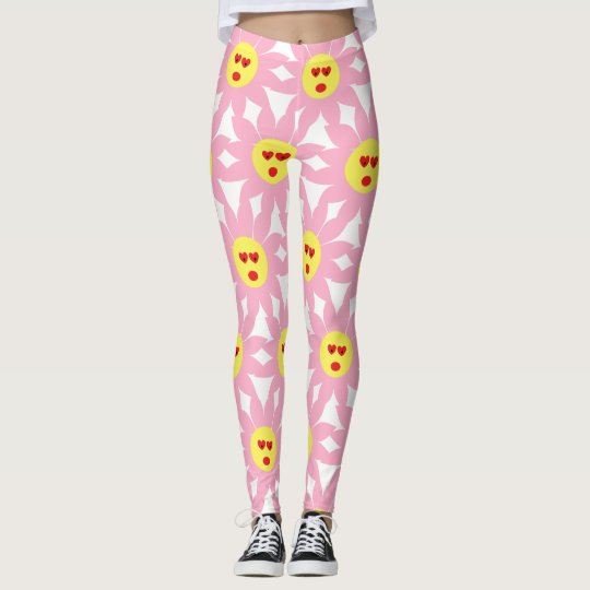 Crazy Pink Flower with Red Heart Eyes Leggings
