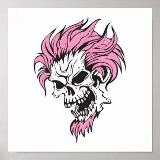 crazy pink hair skull poster