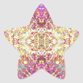 Crazy Pink Yellow Abstract Star Sticker