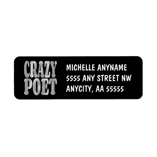 Crazy Poet in Silver Return Address Label