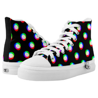 Crazy Polka Dots Custom Black Printed Shoes