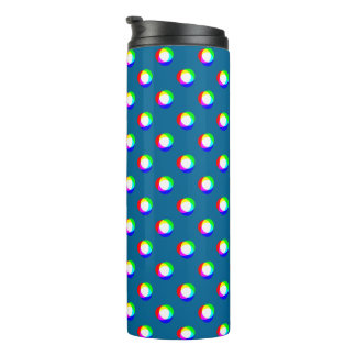 Crazy Polka Dots Custom Ocean Blue Background Thermal Tumbler