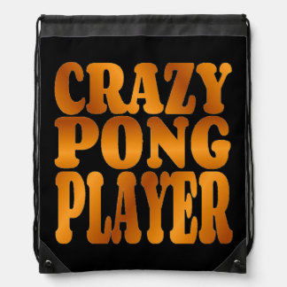 Crazy Pong Player in Gold Drawstring Backpacks