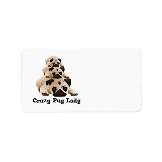 Crazy Pug Lady Address Label
