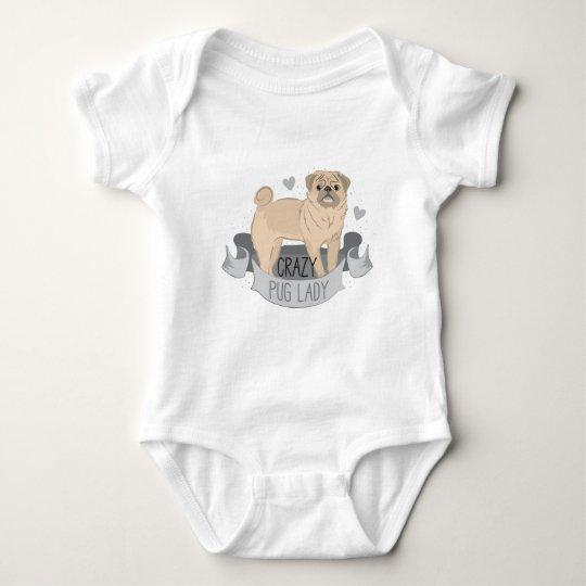 crazy pug lady banner baby bodysuit