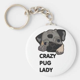 Crazy Pug Lady Basic Round Button Key Ring