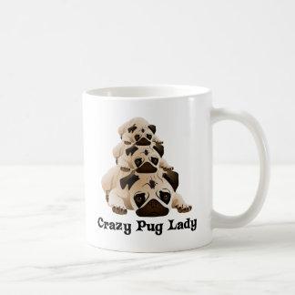 Crazy Pug Lady Basic White Mug