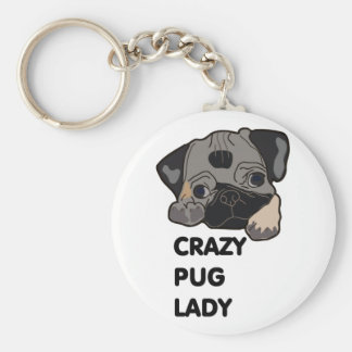 Crazy Pug Lady Key Ring