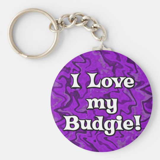 Crazy Purple I Love my Budgie Keychain