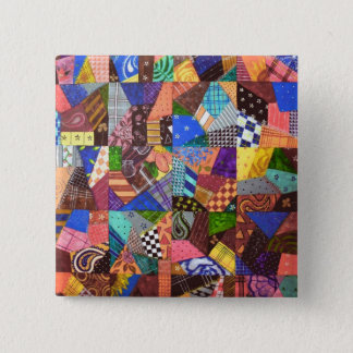 Crazy Quilt Patchwork Quilt Abstract Art Geometric 15 Cm Square Badge