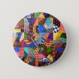 Crazy Quilt Patchwork Quilt Abstract Art Geometric 6 Cm Round Badge