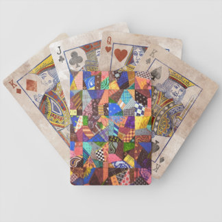 Crazy Quilt Patchwork Quilt Abstract Art Geometric Bicycle Playing Cards