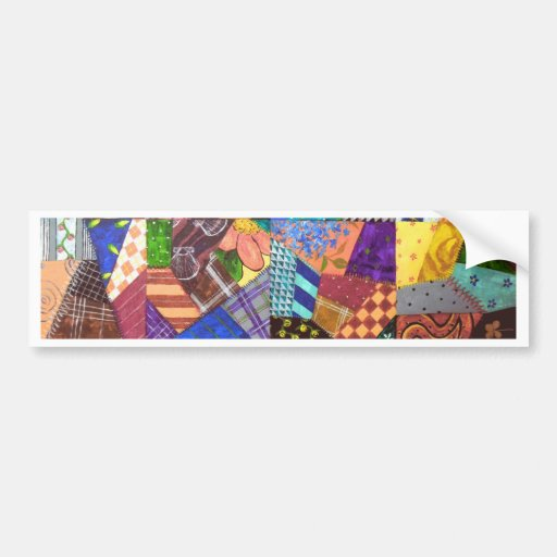 Crazy Quilt Patchwork Quilt Abstract Art Geometric Bumper Stickers