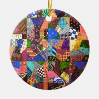 Crazy Quilt Patchwork Quilt Abstract Art Geometric Christmas Ornament