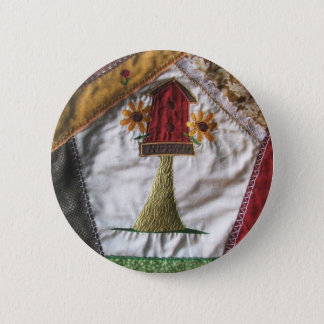 Crazy quilt pattern birhouse 6 cm round badge