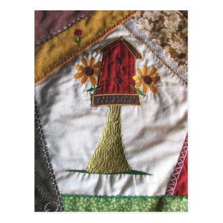 Crazy quilt pattern birhouse postcard