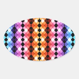 Crazy Rainbow Argyle Oval Sticker