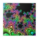 Crazy Rainbow Fractal Ceramic Tile