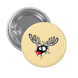 Crazy Red Nosed Reindeer 3 Cm Round Badge
