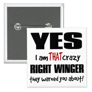 Crazy Right Winger 15 Cm Square Badge