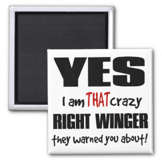 Crazy Right Winger Square Magnet