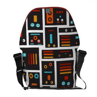 Crazy Robot Friends Messenger Bag