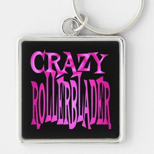Crazy Rollerblader in Pink Silver-Colored Square Key Ring