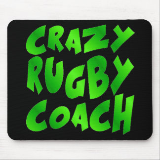 Crazy Rugby Coach in Green Mouse Mat