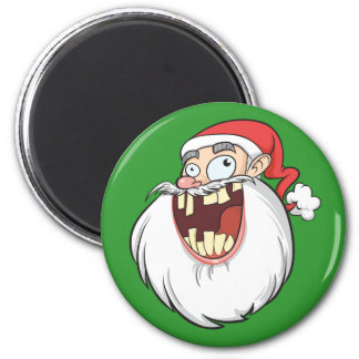 Crazy Santa Claus Laughing 6 Cm Round Magnet