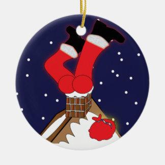 Crazy Santa Stuck in Chimney Ornament