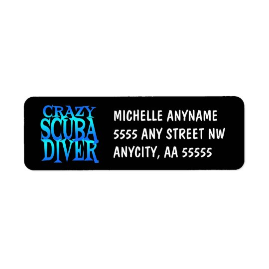 Crazy Scuba Diver Return Address Label