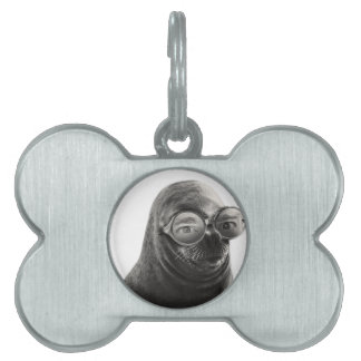 Crazy Seal Face Mask Funny Pet Name Tags