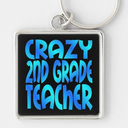 Crazy Second Grade Teacher Silver-Colored Square Key Ring