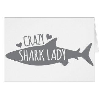 Crazy Shark Lady Greeting Card