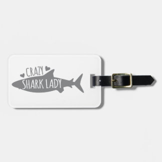 Crazy Shark Lady Luggage Tag