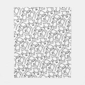 Crazy Sheep Dream Doodle Pattern Fleece Blanket