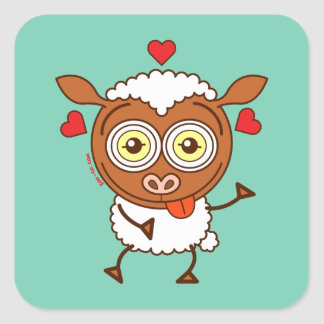 Crazy sheep feeling lucky in love square sticker