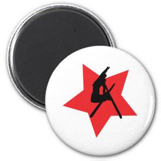 crazy ski jump red star 6 cm round magnet
