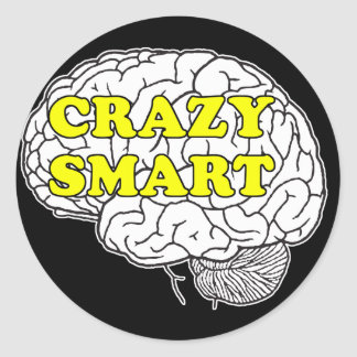 crazy smart classic round sticker