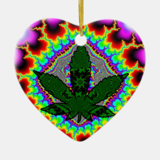 Crazy Smoke Weed Fun Rasta Ceramic Heart Decoration