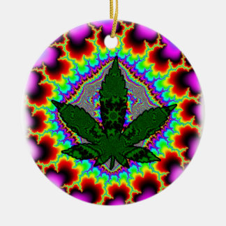 Crazy Smoke Weed Fun Rasta Round Ceramic Decoration