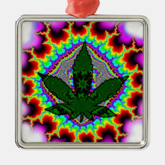 Crazy Smoke Weed Fun Rasta Silver-Colored Square Decoration