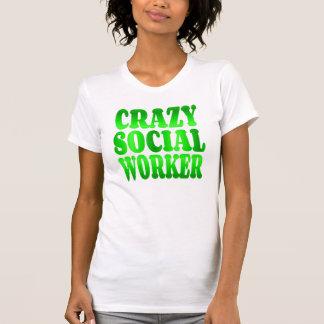 Crazy Social Worker in Green T-Shirt