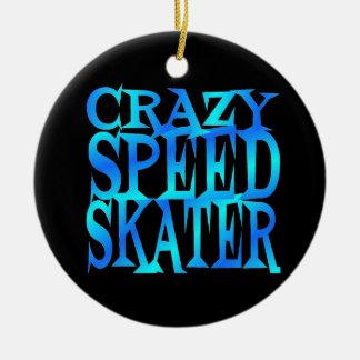 Crazy Speed Skater Round Ceramic Decoration