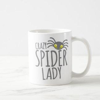 Crazy Spider Lady Basic White Mug